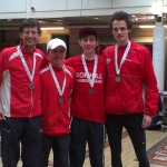 Silver medalists Ben Hukins, Robert Gilroy, Kyle McLellan and Josh Lilly - missing are Stuart Gibson and Ian Rawlinson.